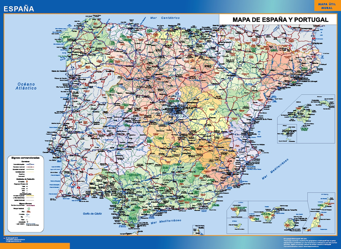 Mapa Carreteras España 2017.Mapa Espana Simple Plastificado