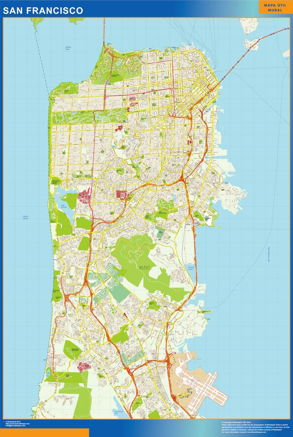 Mapa De San Francisco.Mapa De San Francisco Plastificado Plastificado